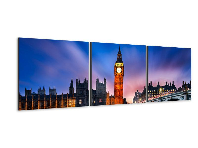 Panorama Aluminiumbild 3-teilig Nachts am Big Ben