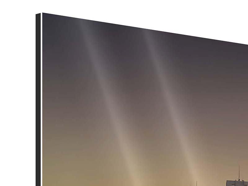 Panorama Aluminiumbild 3-teilig Skyline Sydney im Lichtermeer