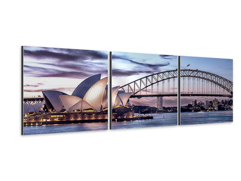 Panorama Aluminiumbild 3-teilig Skyline Sydney Opera House