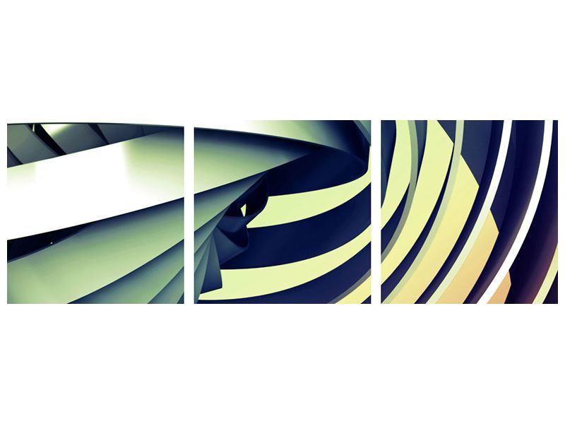 Panorama Aluminiumbild 3-teilig Abstrakte Perspektiven