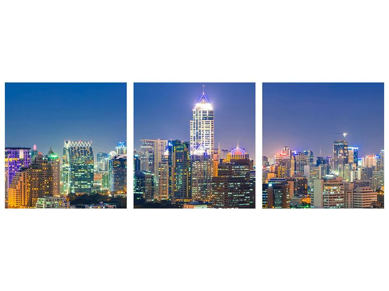 Panorama Aluminiumbild 3-teilig Skyline One Night in Bangkok