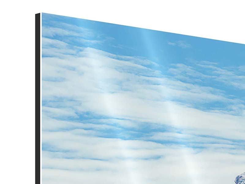 Panorama Aluminiumbild 3-teilig Friedliche Bergstimmung