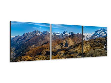 Panorama Aluminiumbild 3-teilig Schweizer Alpen im Frühling