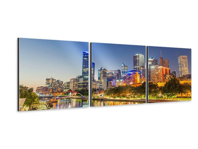 Panorama Aluminiumbild 3-teilig Skyline Sydney in der Abenddämmerung