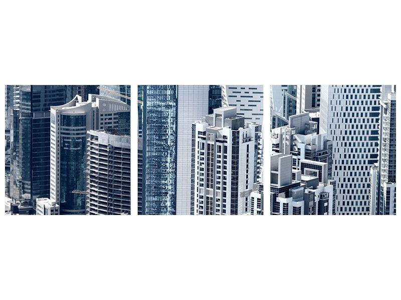 Panorama Aluminiumbild 3-teilig Die Wolkenkratzer von Dubai