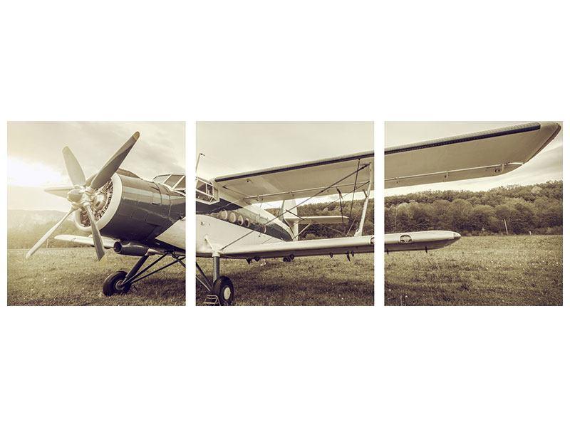 Panorama Aluminiumbild 3-teilig Nostalgisches Flugzeug im Retrostyle