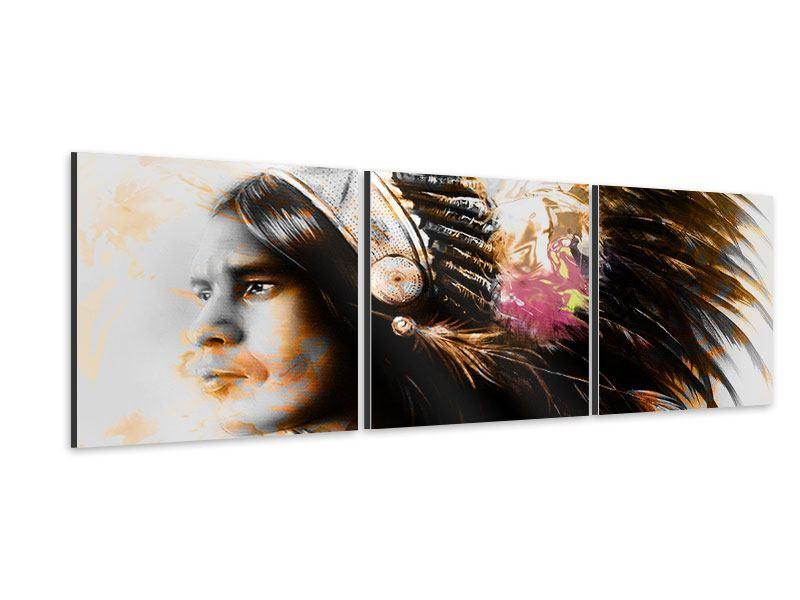 Panorama Aluminiumbild 3-teilig Kunstvolles Indianer-Portrait