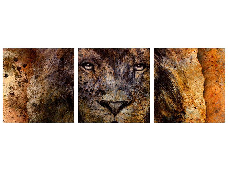 Panorama Aluminiumbild 3-teilig Portrait eines Löwen