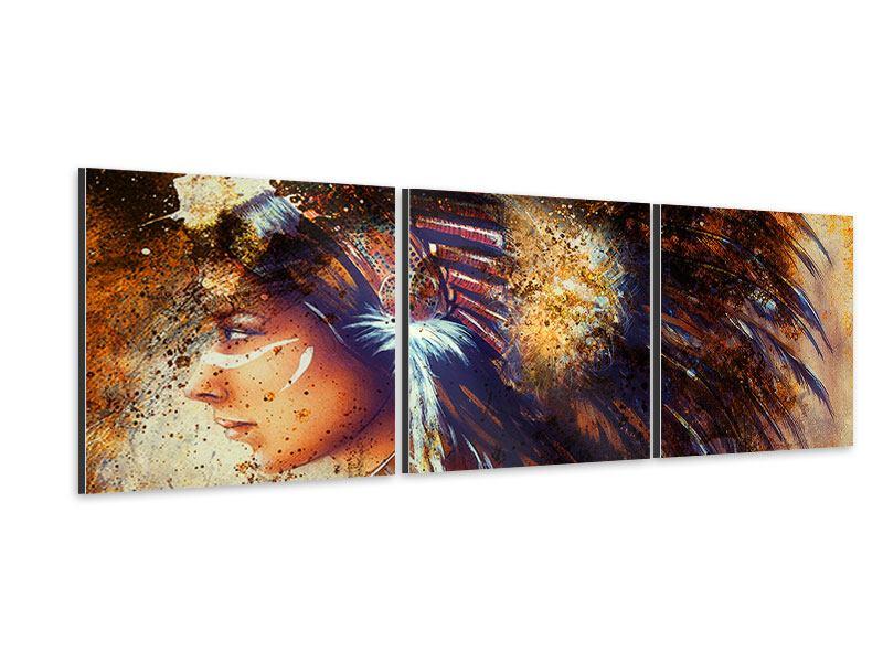 Panorama Aluminiumbild 3-teilig Indianer