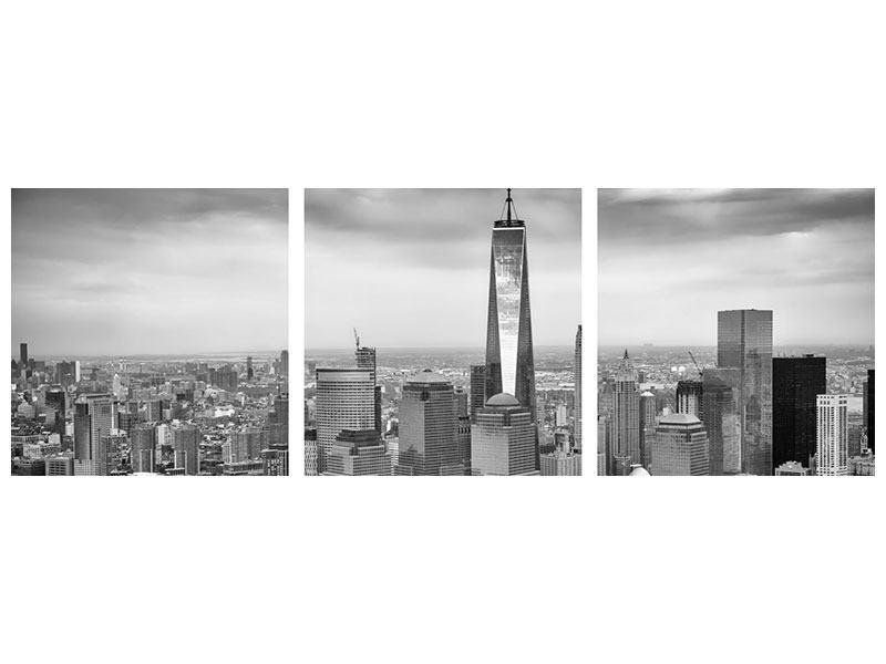 Panorama Aluminiumbild 3-teilig Skyline Schwarzweissfotografie New York
