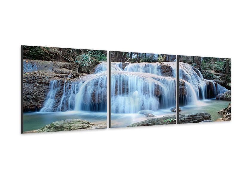 Panorama Aluminiumbild 3-teilig Ein Wasserfall