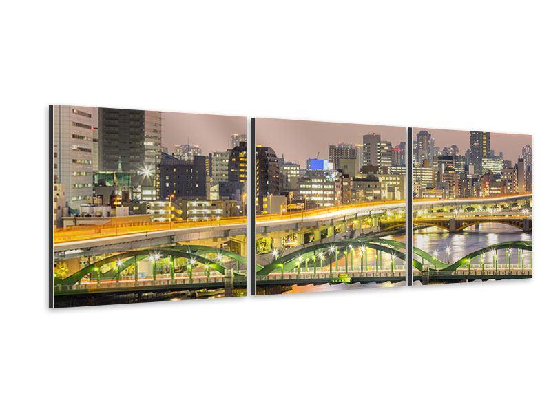 Panorama Aluminiumbild 3-teilig Skyline Das Lichtermeer von Tokio