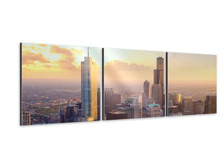 Panorama Aluminiumbild 3-teilig Skyline Chicago