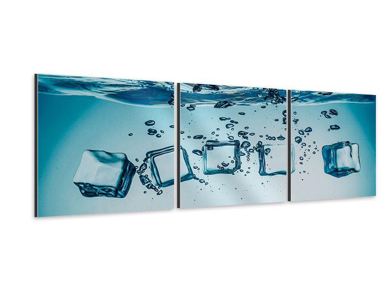 Panorama Aluminiumbild 3-teilig Eiswürfel-Quadro