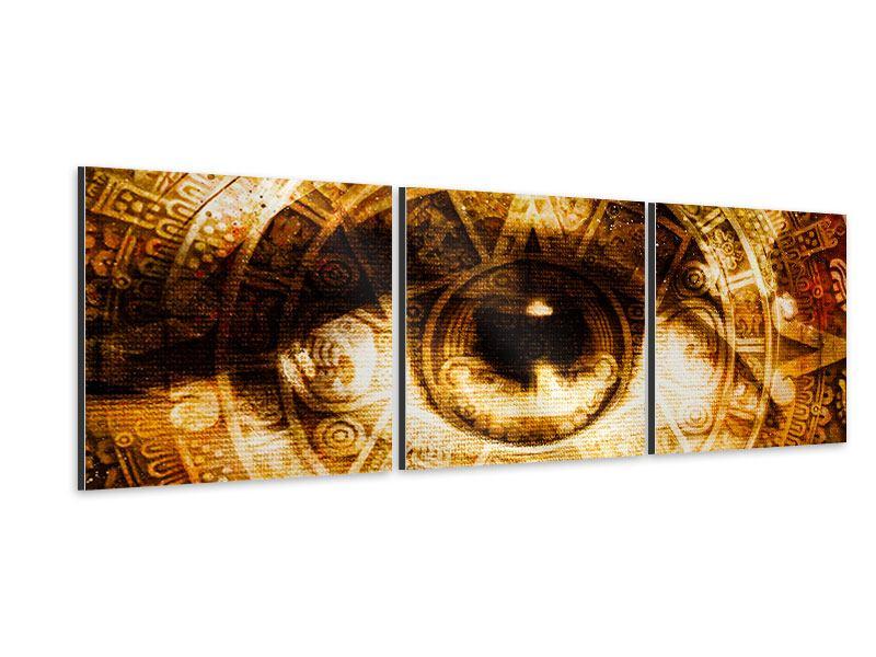Panorama Aluminiumbild 3-teilig Fraktales Auge