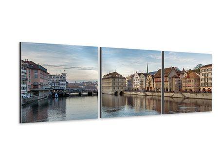 Panorama Aluminiumbild 3-teilig Kosmopolitisches Zürich