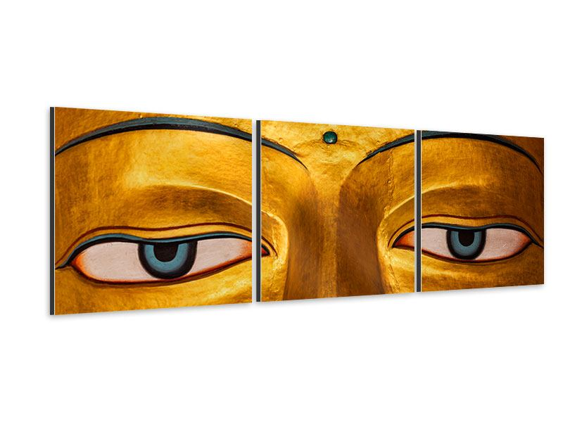 Panorama Aluminiumbild 3-teilig Die Augen eines Buddhas