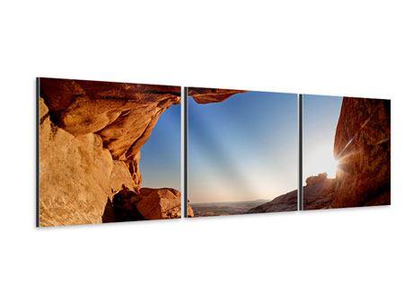 Panorama Aluminiumbild 3-teilig Sonnenuntergang vor der Höhle