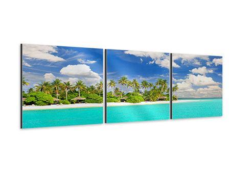 Panorama Aluminiumbild 3-teilig Meine Insel