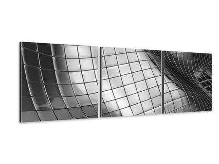 Panorama Aluminiumbild 3-teilig Abstrakter Stahl