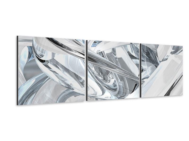 Panorama Aluminiumbild 3-teilig Abstrakte Glasbahnen