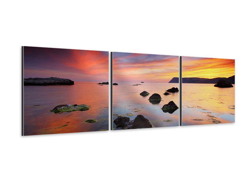Panorama Aluminiumbild 3-teilig Ein Sonnenuntergang am Meer