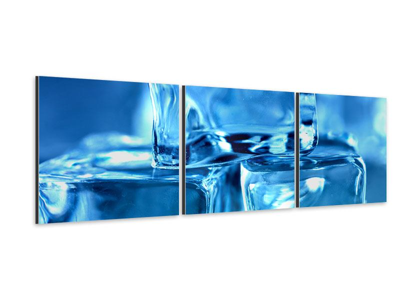 Panorama Aluminiumbild 3-teilig Eiswürfel XXL