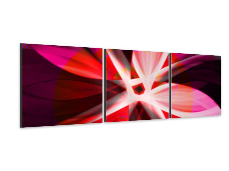 Panorama Aluminiumbild 3-teilig Abstrakt Flower Power