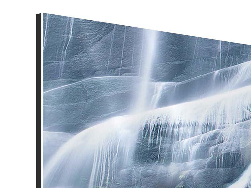 Panorama Aluminiumbild 3-teilig Grossartiger Wasserfall