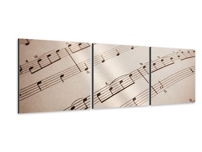 Panorama Aluminiumbild 3-teilig Das Notenblatt