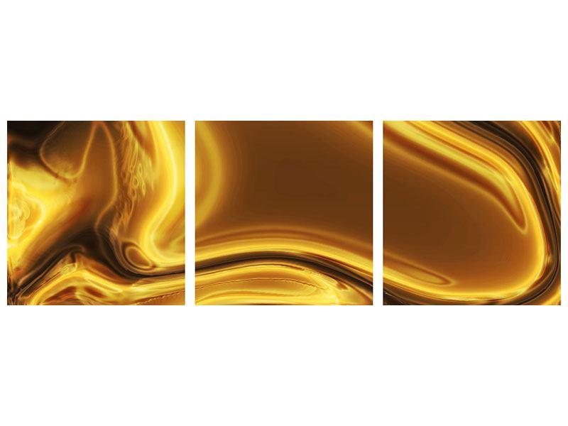 Panorama Aluminiumbild 3-teilig Abstrakt Flüssiges Gold