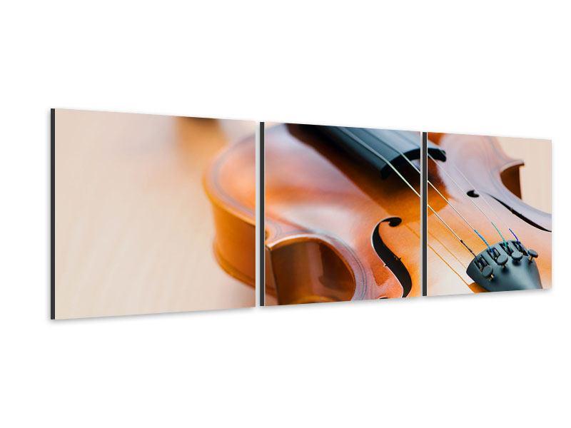 Panorama Aluminiumbild 3-teilig Geige