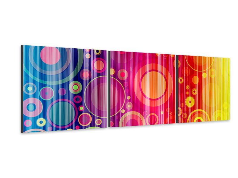 Panorama Aluminiumbild 3-teilig Grunge-Retrokreise
