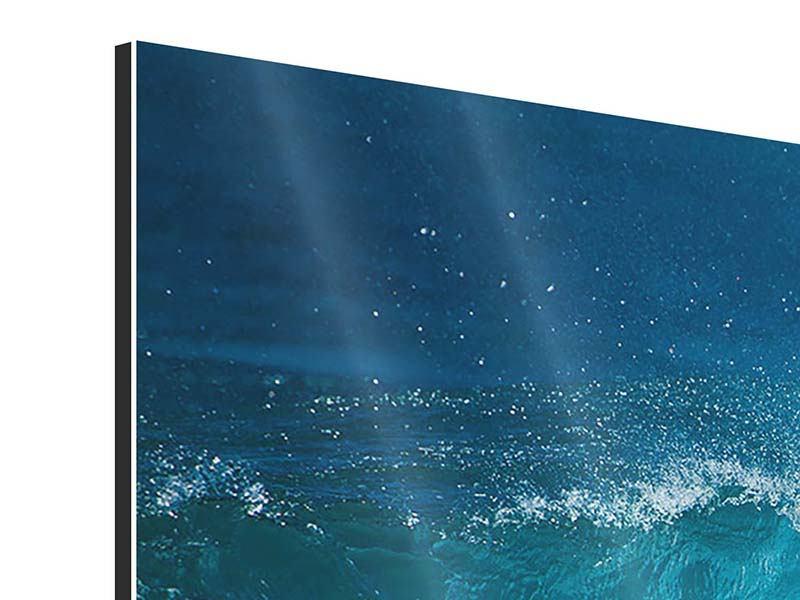 Panorama Aluminiumbild 3-teilig Die perfekte Welle