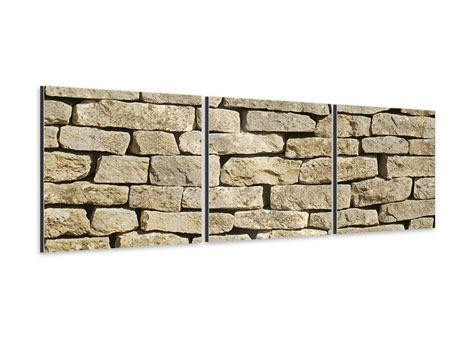 Panorama Aluminiumbild 3-teilig Alte Mauer
