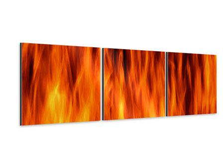 Panorama Aluminiumbild 3-teilig Feuer Close Up