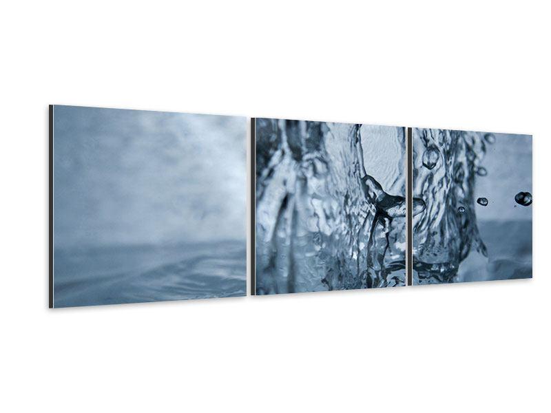 Panorama Aluminiumbild 3-teilig Wasserdynamik
