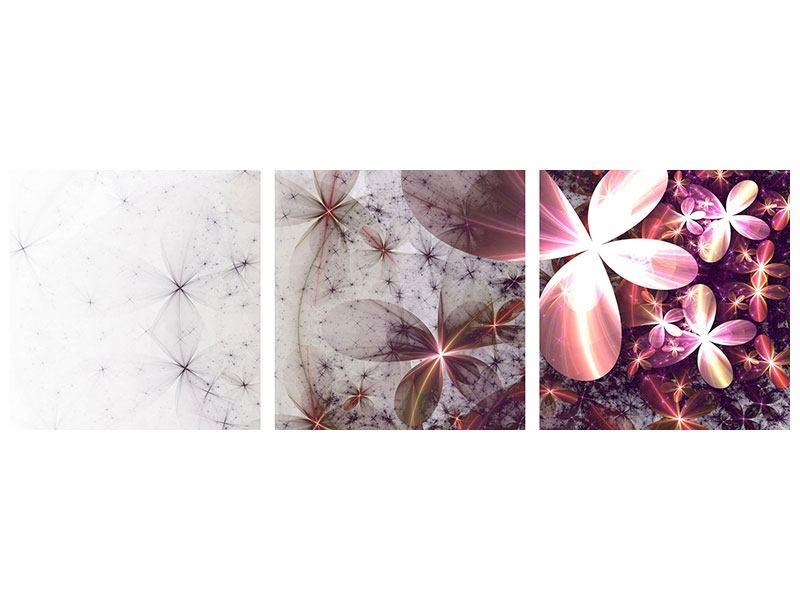 Panorama Aluminiumbild 3-teilig Abstrakte Blumen