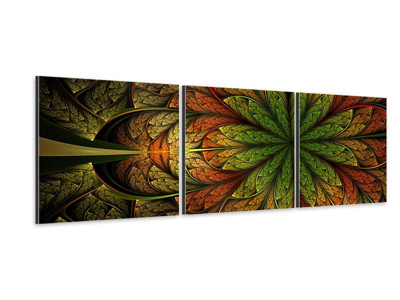 Panorama Aluminiumbild 3-teilig Abstraktes Blumenmuster