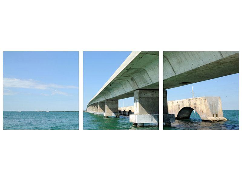 Panorama Aluminiumbild 3-teilig Seven Mile Bridge