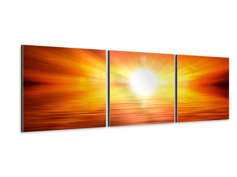 Panorama Aluminiumbild 3-teilig Glühender Sonnenuntergang