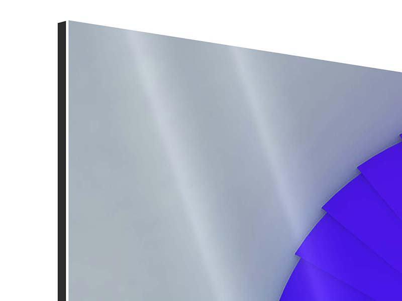 Panorama Aluminiumbild 3-teilig Bunte Wendeltreppe 3D
