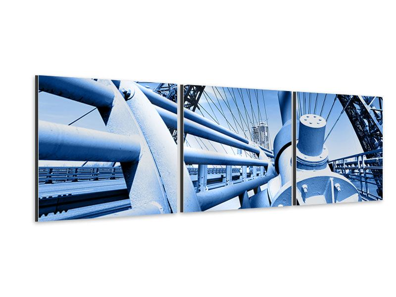 Panorama Aluminiumbild 3-teilig Avantgardistische Hängebrücke
