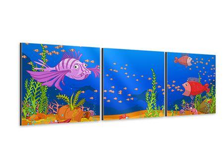 Panorama Aluminiumbild 3-teilig Der Schatz unter Wasser