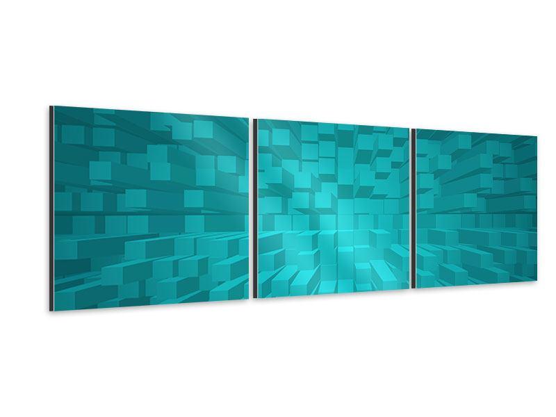 Panorama Aluminiumbild 3-teilig 3D-Kubusse