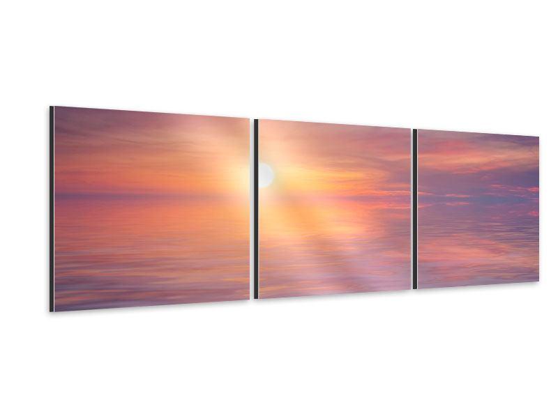 Panorama Aluminiumbild 3-teilig Sonnenuntergang auf See