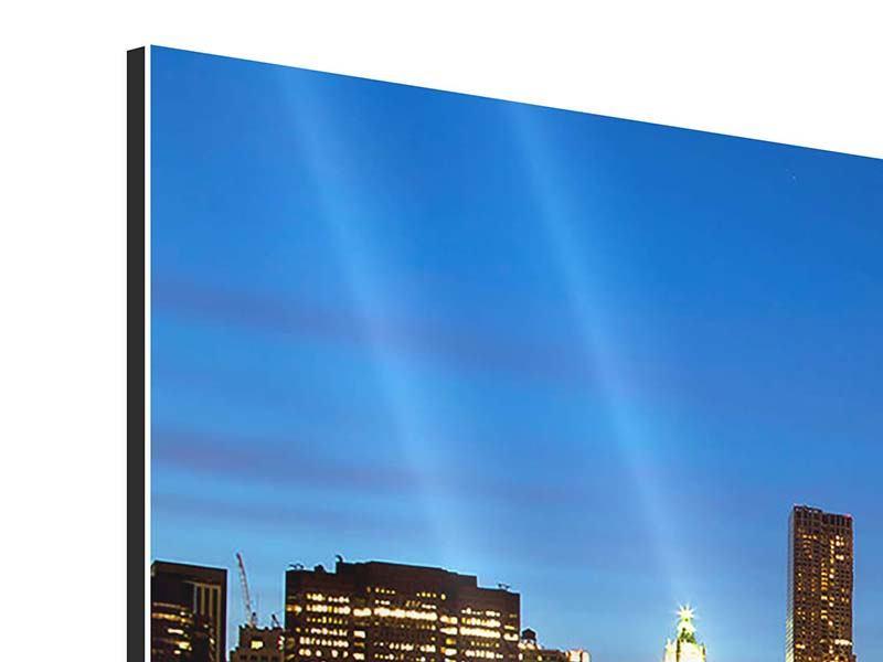 Panorama Aluminiumbild 3-teilig Skyline Manhattan im Lichtermeer