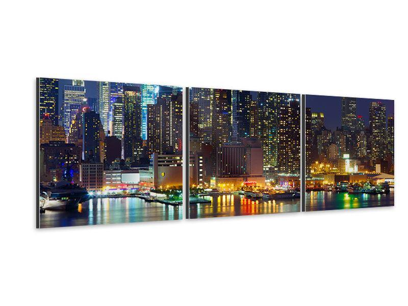 Panorama Aluminiumbild 3-teilig Skyline New York Midtown bei Nacht