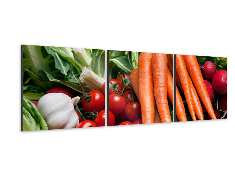 Panorama Aluminiumbild 3-teilig Gemüse