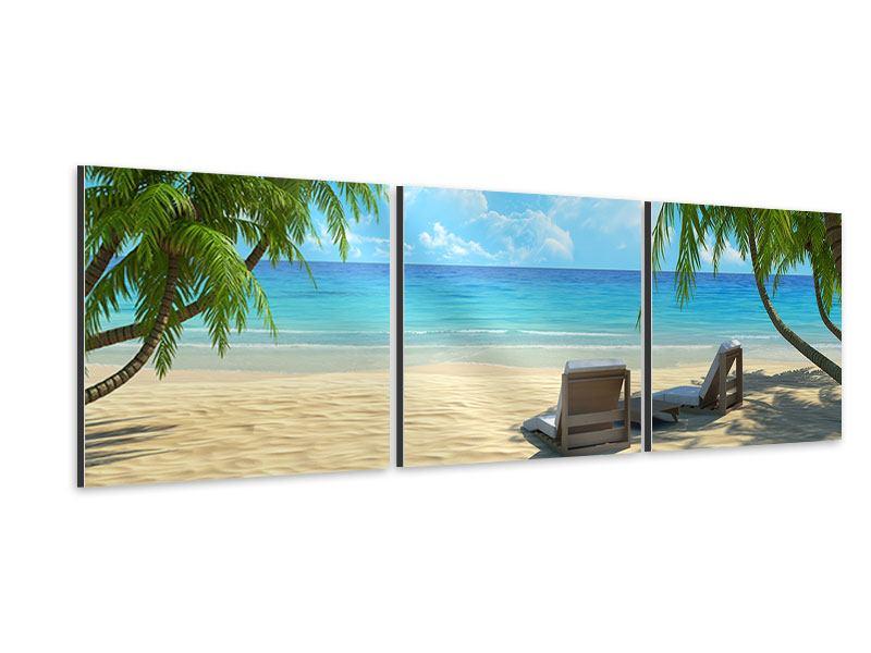 Panorama Aluminiumbild 3-teilig Strandparadies